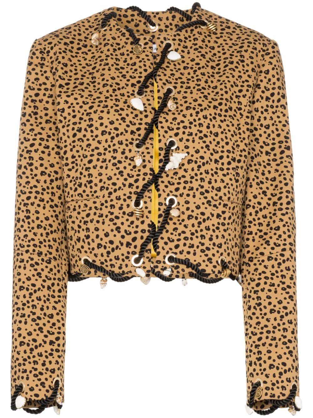 Rejina Pyo | жакет без воротника с леопардовым принтом | Clouty