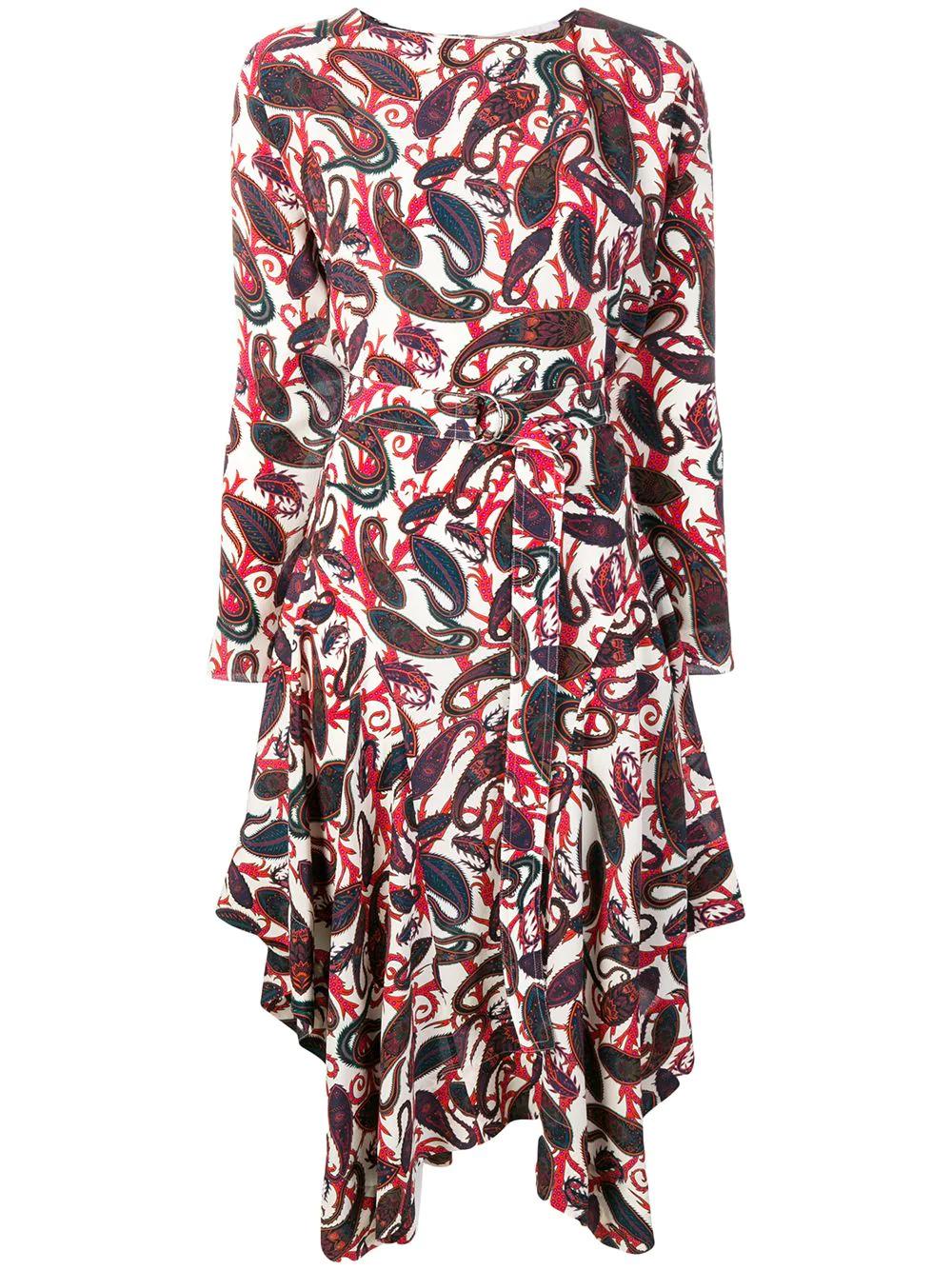 Chloé   платье миди с поясом и принтом пейсли   Clouty