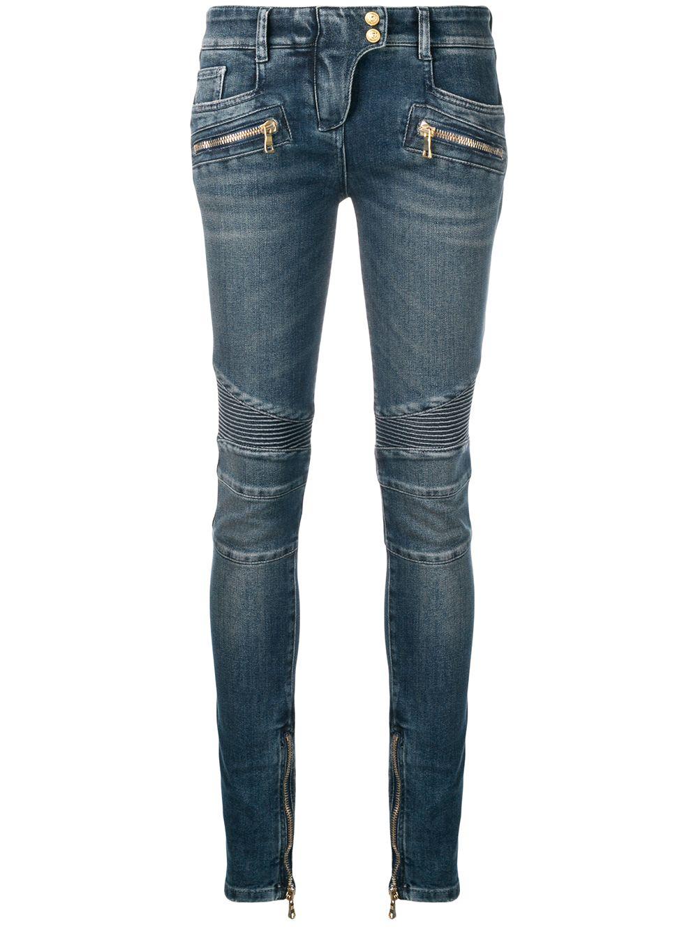 BALMAIN | байкерские джинсы скинни | Clouty