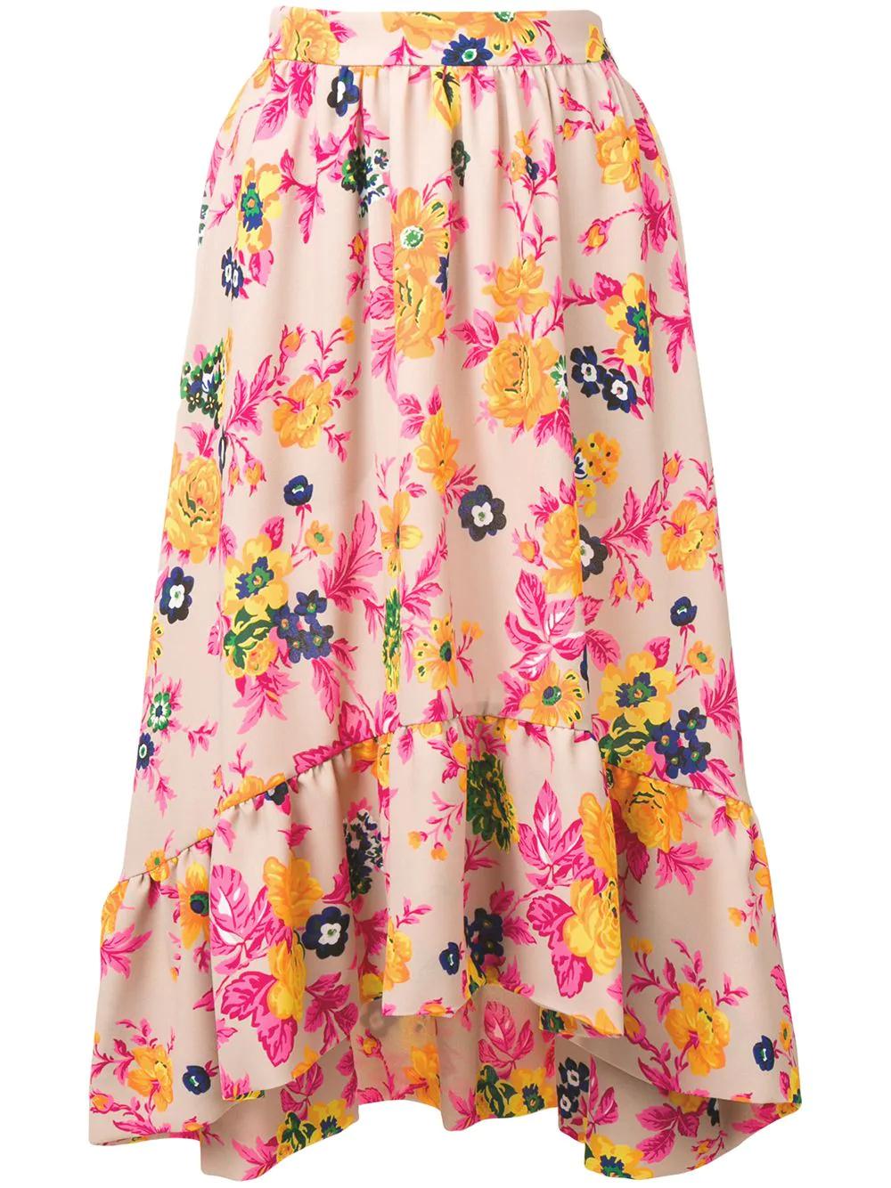 MSGM | асимметричная юбка с цветочным принтом | Clouty