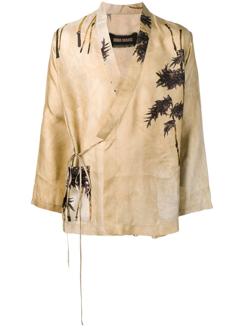 Uma Wang   блейзер-кимоно с принтом   Clouty