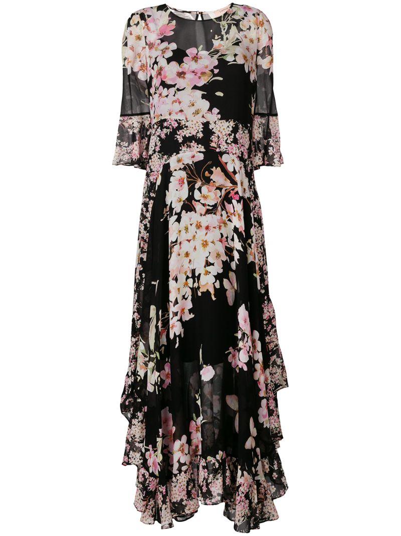 Twin-Set | асимметричное платье с цветочным принтом | Clouty