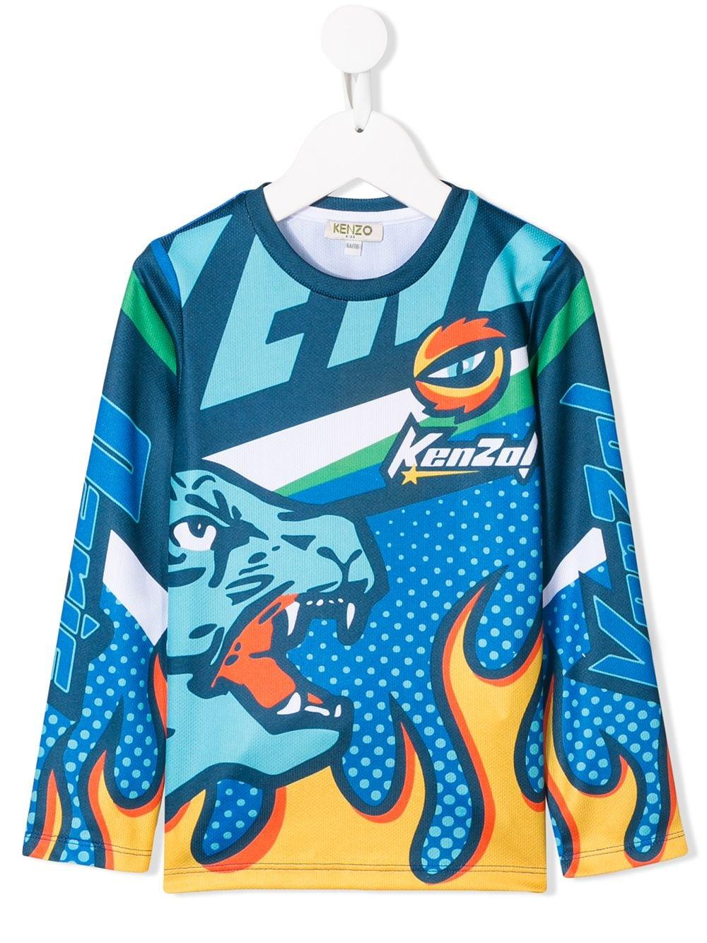 KENZO Kids | Kenzo Kids футболка с длинными рукавами и принтом пламени | Clouty