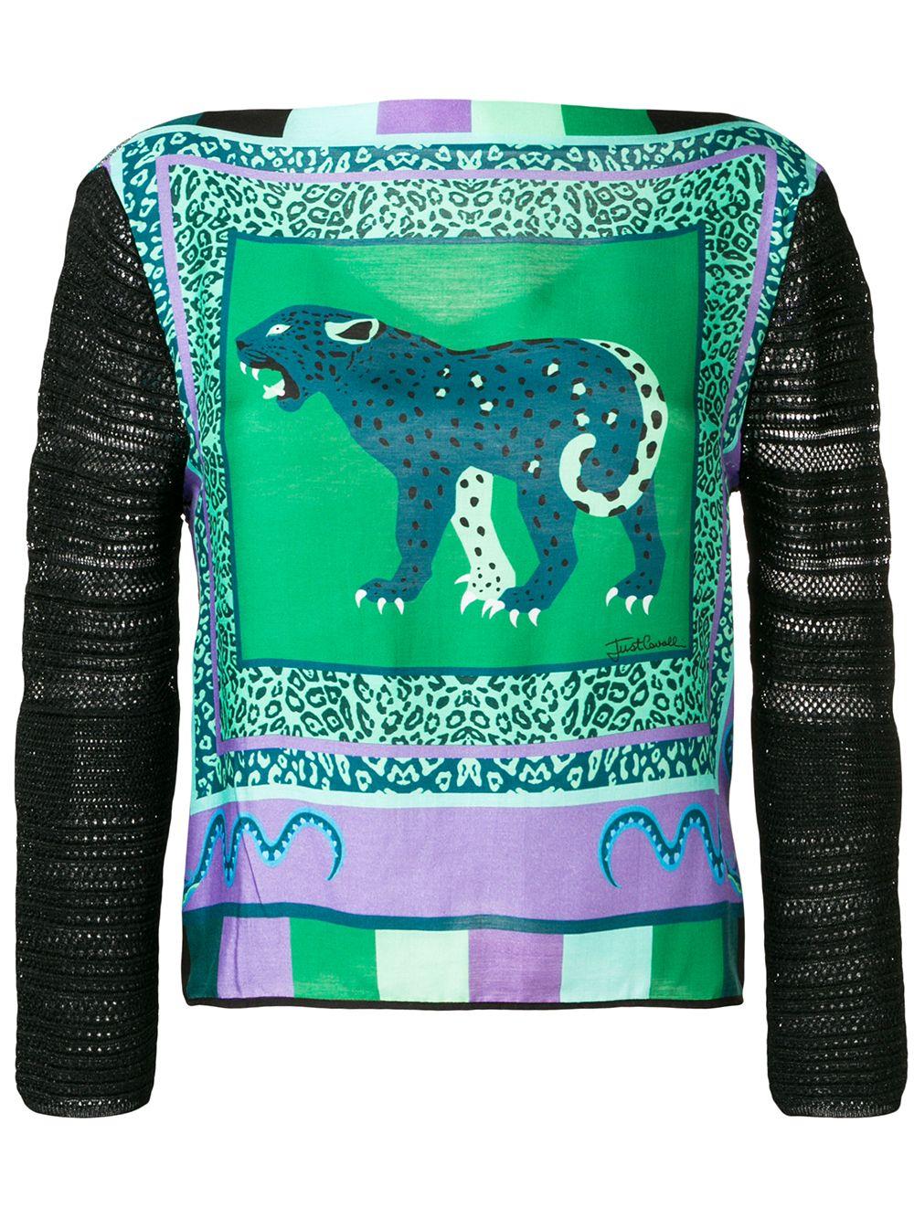 JUST CAVALLI | свитер с вставками и принтом леопарда | Clouty