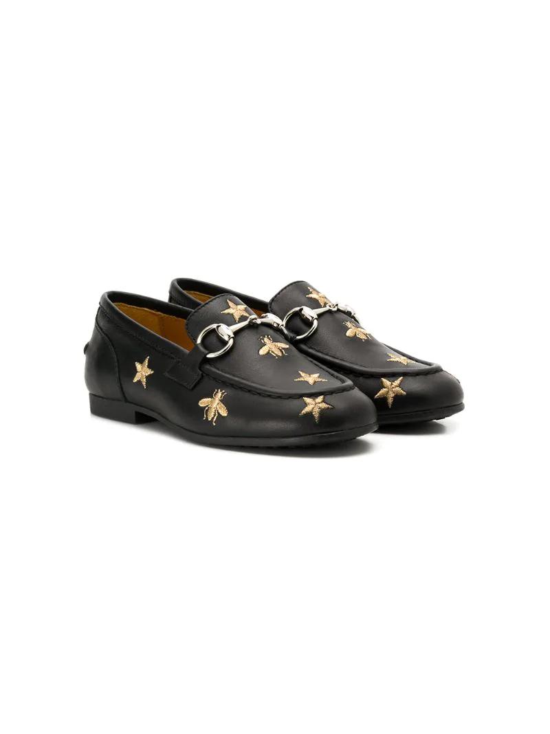 Gucci Kids | лоферы с вышивкой пчел и звезд | Clouty