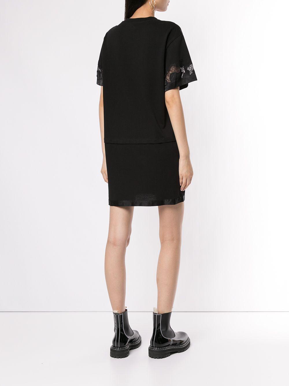 3.1 Phillip Lim | атласное платье-футболка с кружевной вставкой | Clouty