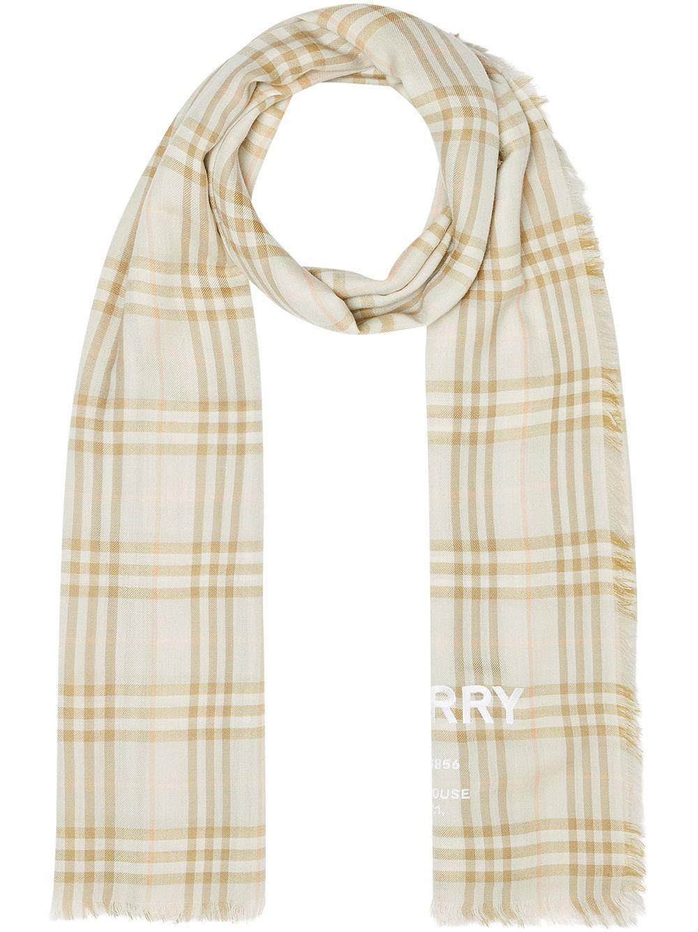 BURBERRY | легкий кашемировый шарф в клетку Vintage Check с вышивкой | Clouty