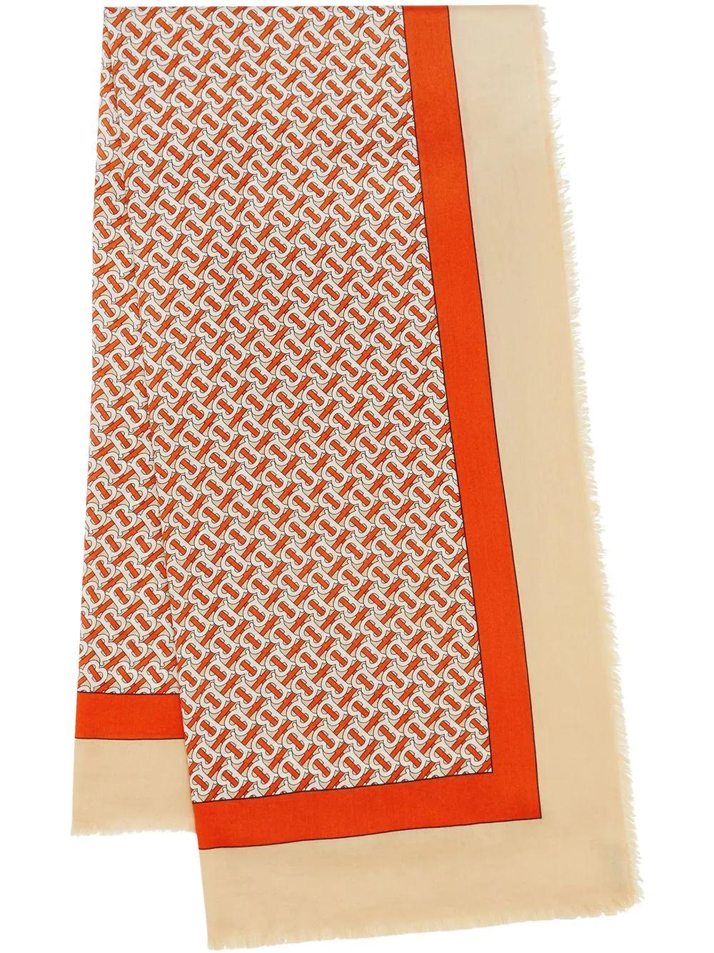 BURBERRY   легкий кашемировый шарф с принтом   Clouty