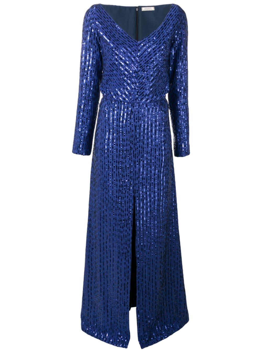 NINA RICCI | платье в полоску с пайетками и эффектом металлик | Clouty