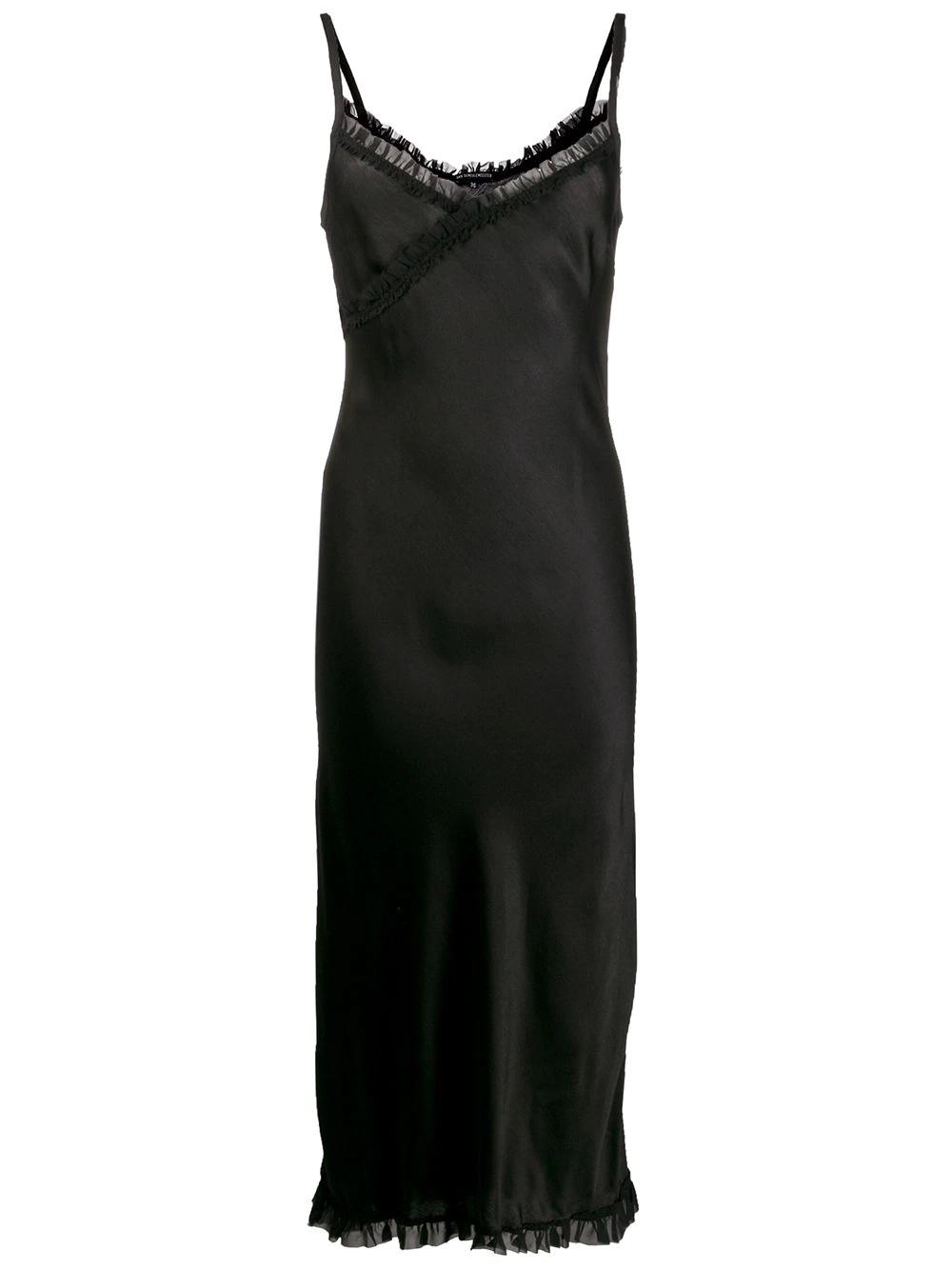 Ann Demeulemeester   атласное платье на бретелях   Clouty