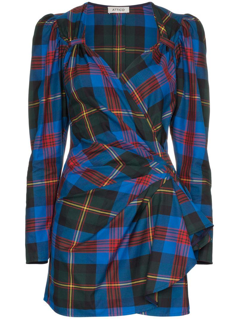 Attico | короткое платье с запахом в клетку | Clouty
