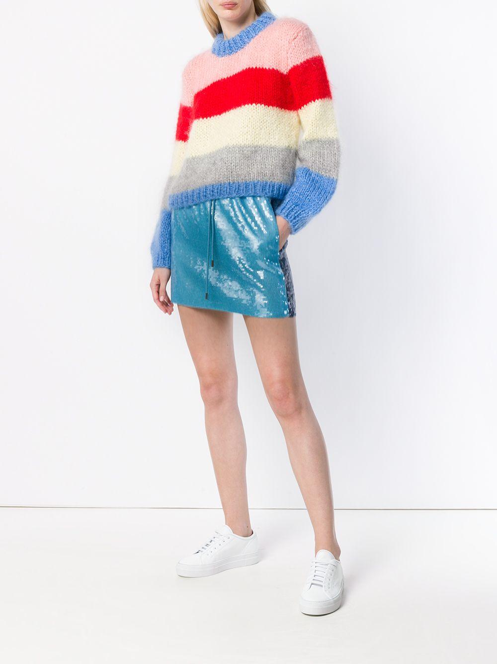 Alberta Ferretti   side stripe sequin mini skirt   Clouty