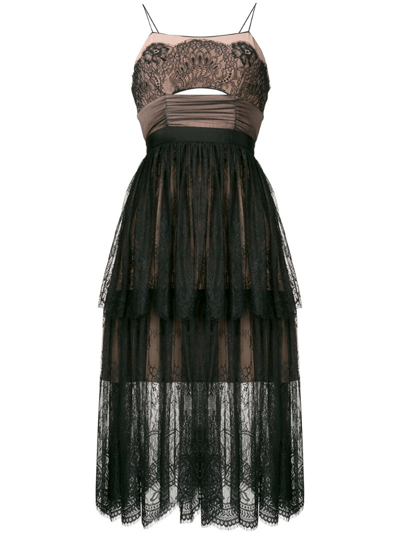 Self-Portrait | многоуровневое платье миди из цветочного кружева | Clouty