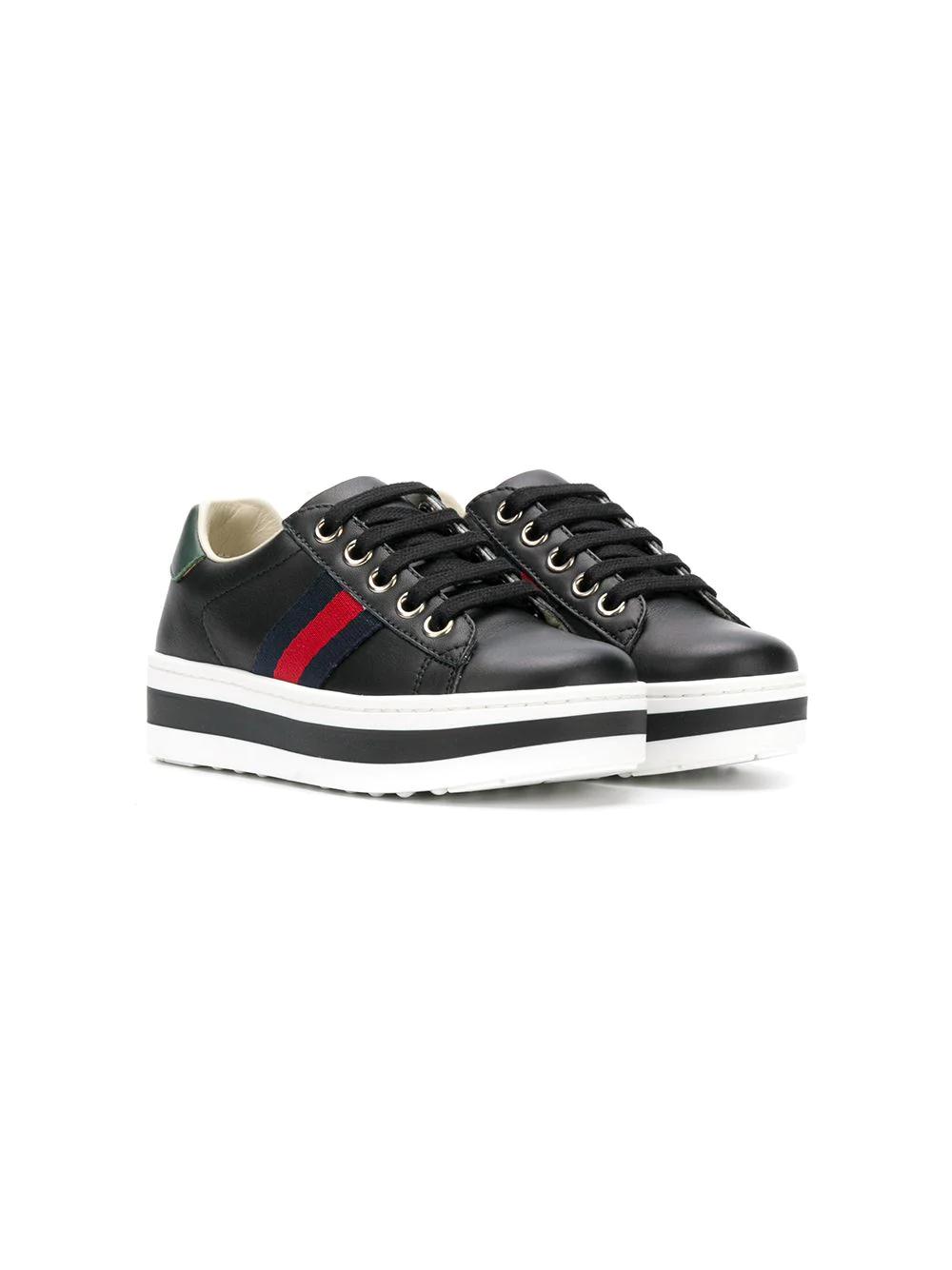 Gucci Kids | кроссовки на платформе с отделкой Web | Clouty