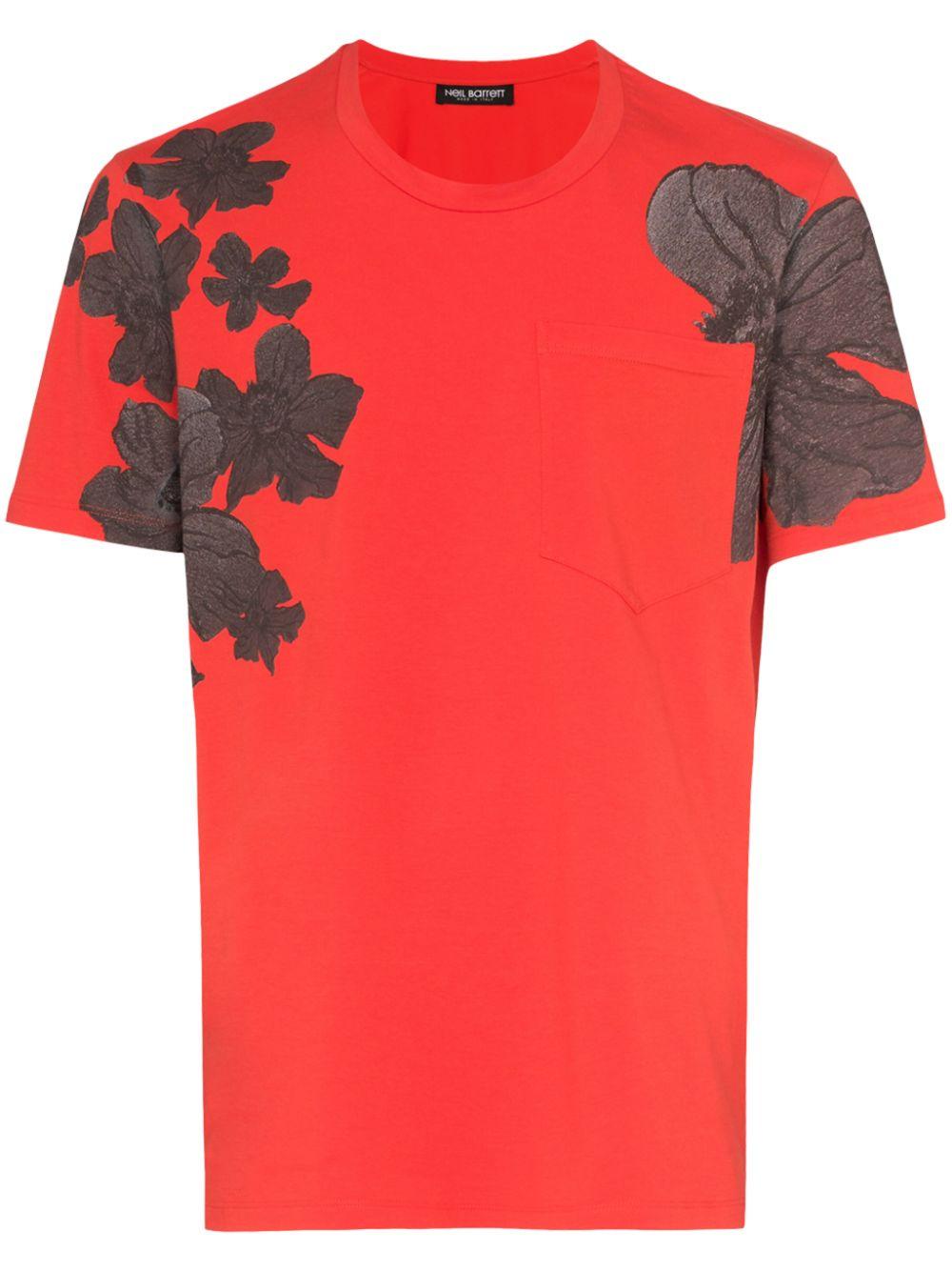 Neil Barrett | футболка с цветочным принтом | Clouty