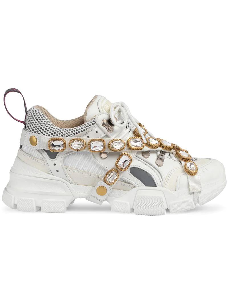 GUCCI   кроссовки 'Flashtrek' со съемным декором   Clouty
