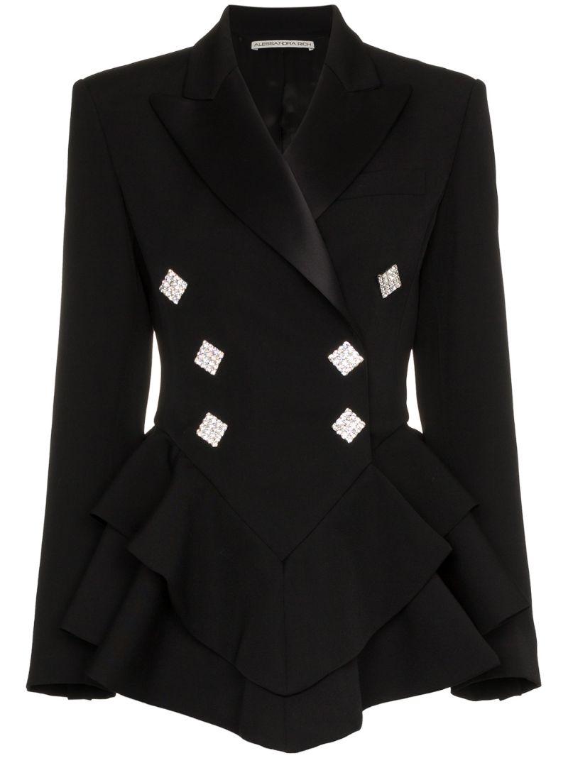 Alessandra Rich | пиджак-смокинг с оборками и пуговицами с кристаллами | Clouty