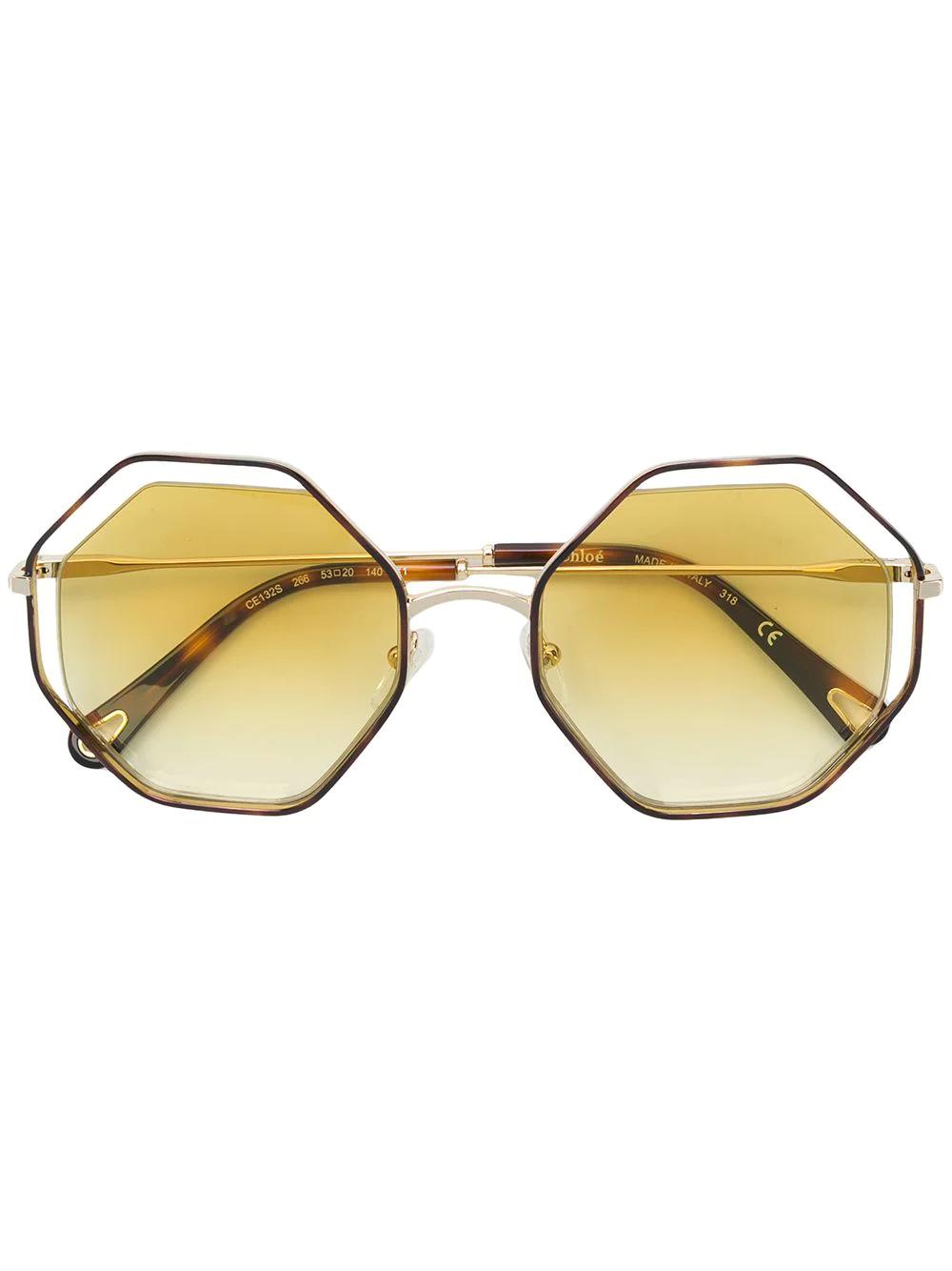 Chloé | солнцезащитные очки в восьмиугольной черепаховой оправе | Clouty