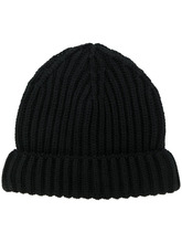 Фото шапка-бини ребристой вязки
