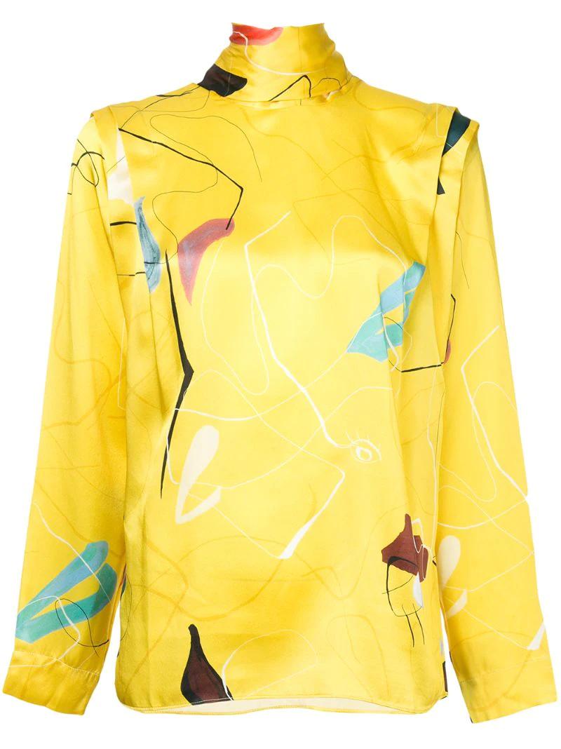 Roksanda | блузка с горловиной на завязке и принтом | Clouty