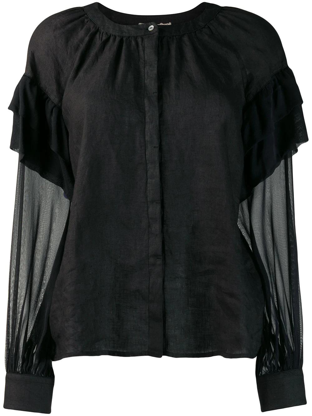 120% Lino | блузка с оборками на рукавах | Clouty