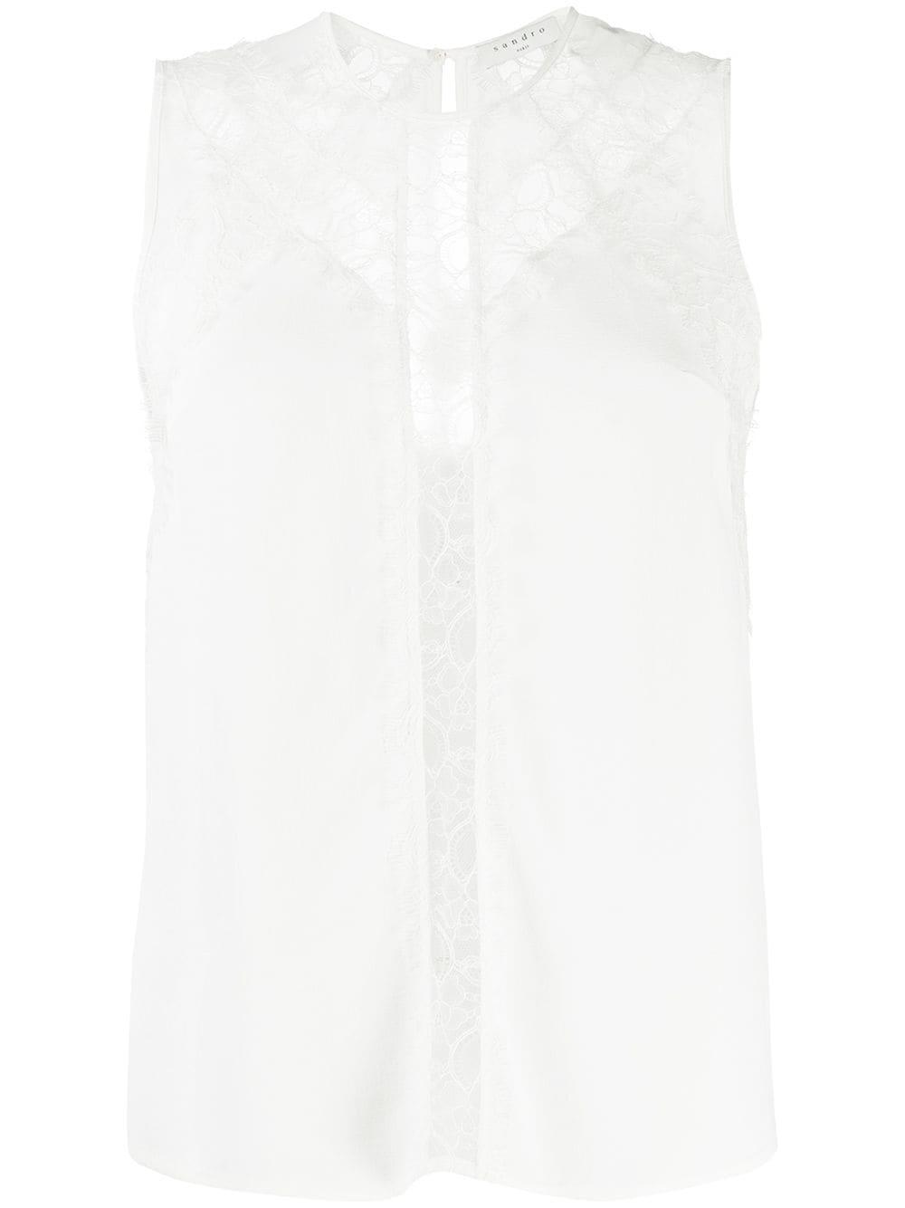 Sandro | Sandro Paris блузка с кружевной вставкой | Clouty