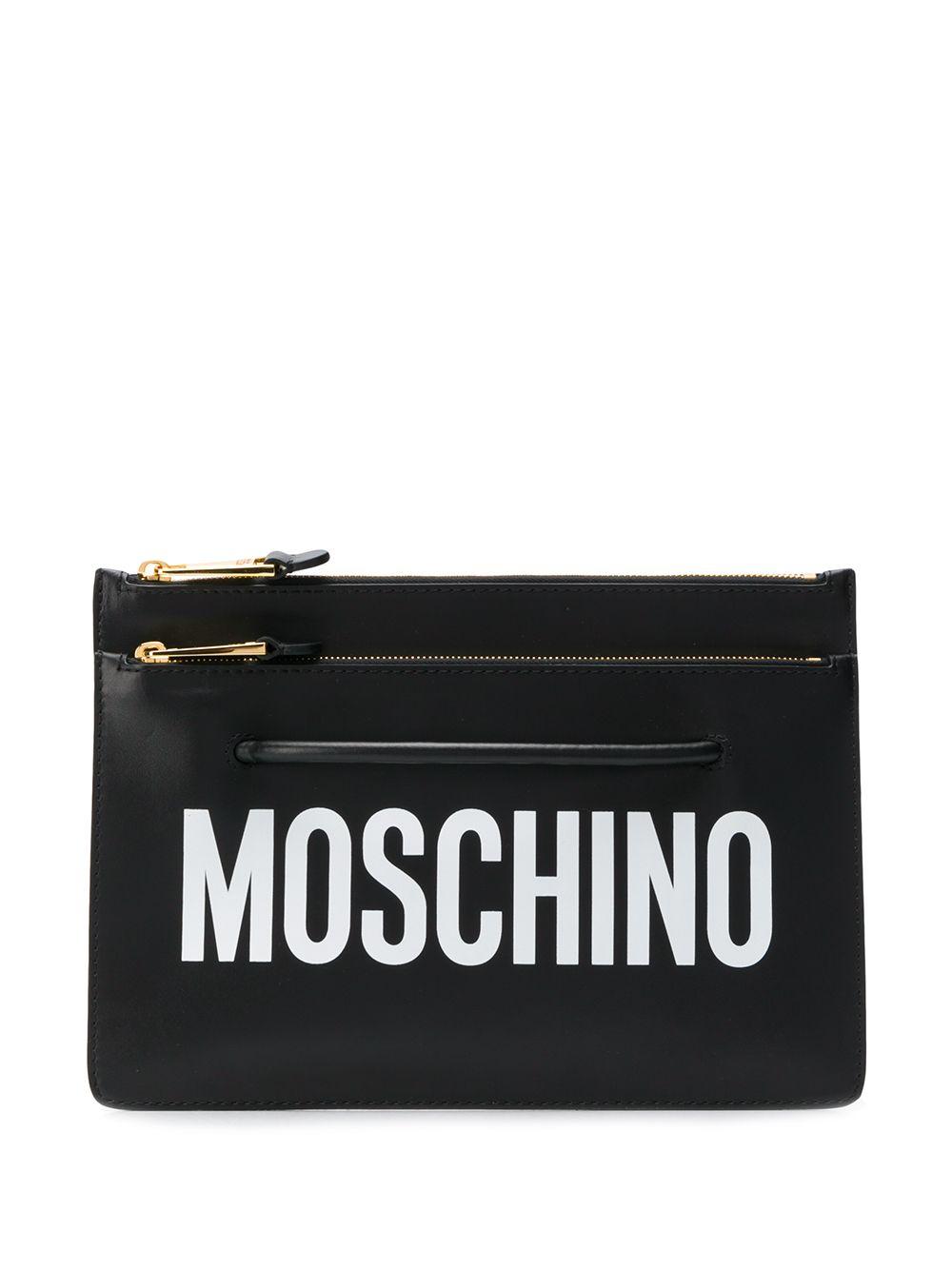 MOSCHINO   Moschino клатч с логотипом   Clouty