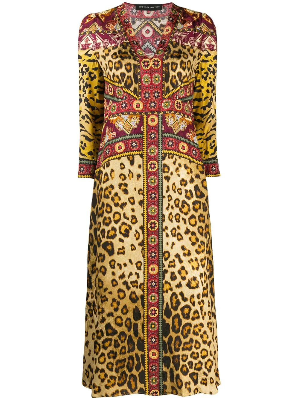 Etro   Etro платье миди с леопардовым принтом   Clouty