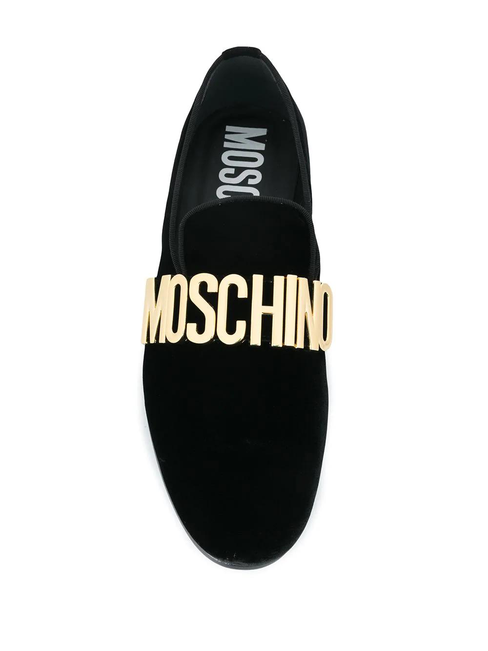 MOSCHINO | Moschino бархатные лоферы с логотипом | Clouty