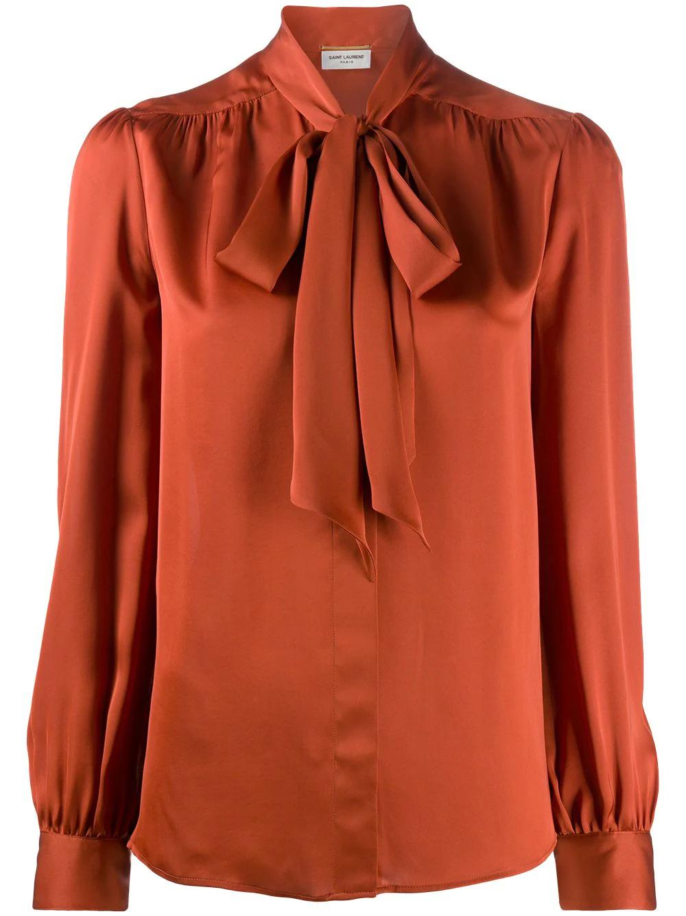 SAINT LAURENT | Saint Laurent блузка с бантом | Clouty