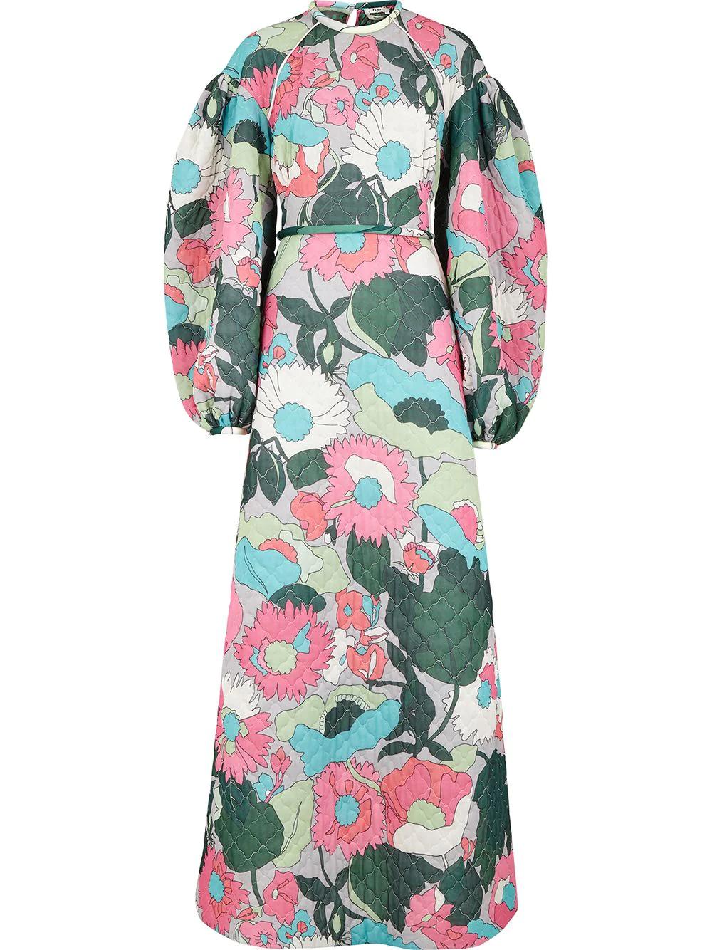 FENDI | Fendi длинное платье с цветочным принтом | Clouty