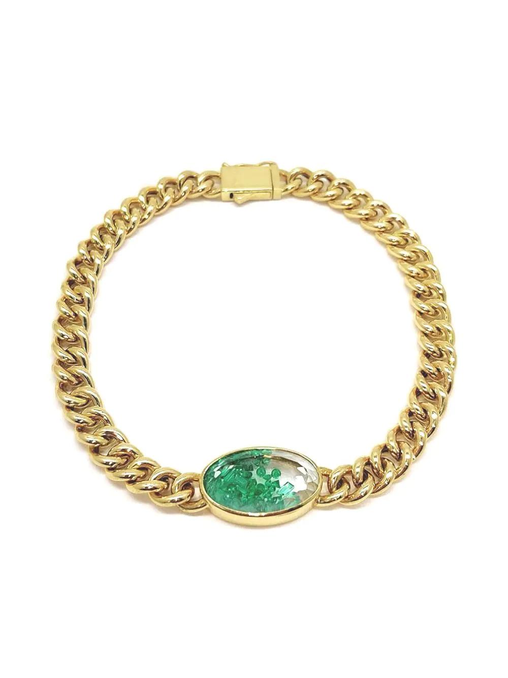 Moritz Glik   Moritz Glik цепочный браслет из желтого золота с изумрудами   Clouty