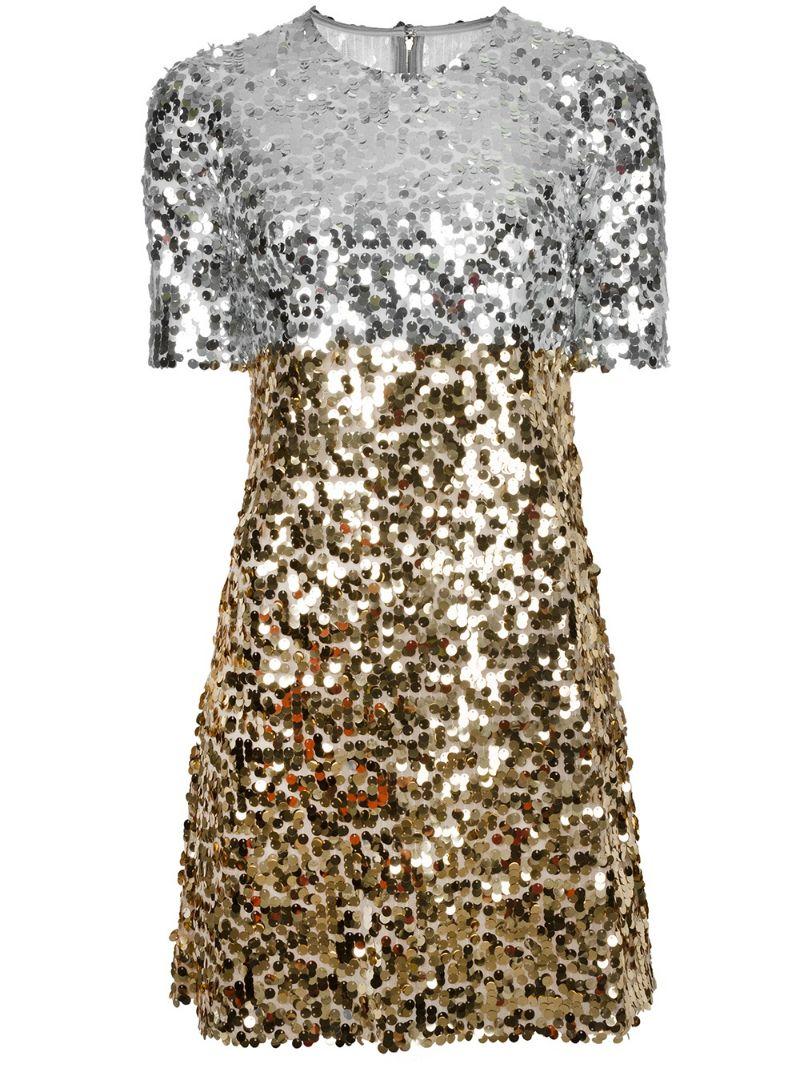 Dolce & Gabbana | Металлический платье с пайетками Dolce & Gabbana | Clouty