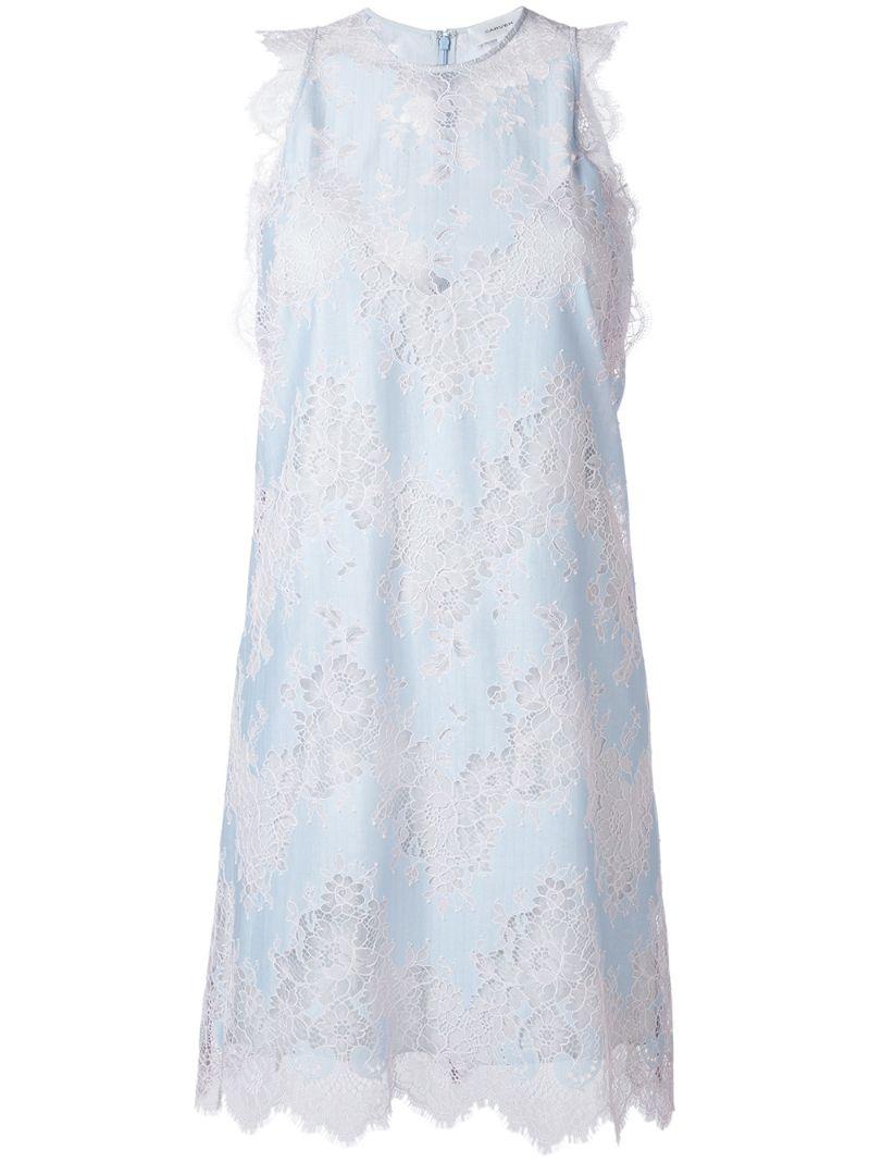 CARVEN | Синий расклешенное кружевное платье Carven | Clouty