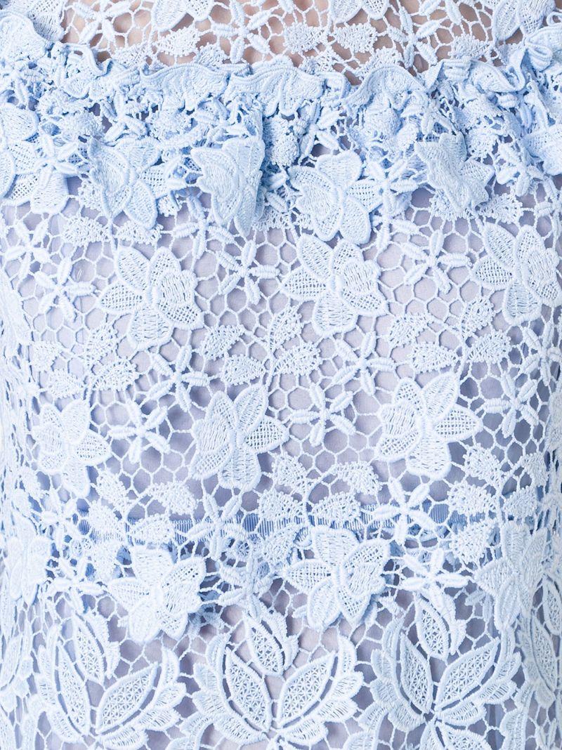 Giamba | Синий многослойное кружевное платье Giamba | Clouty