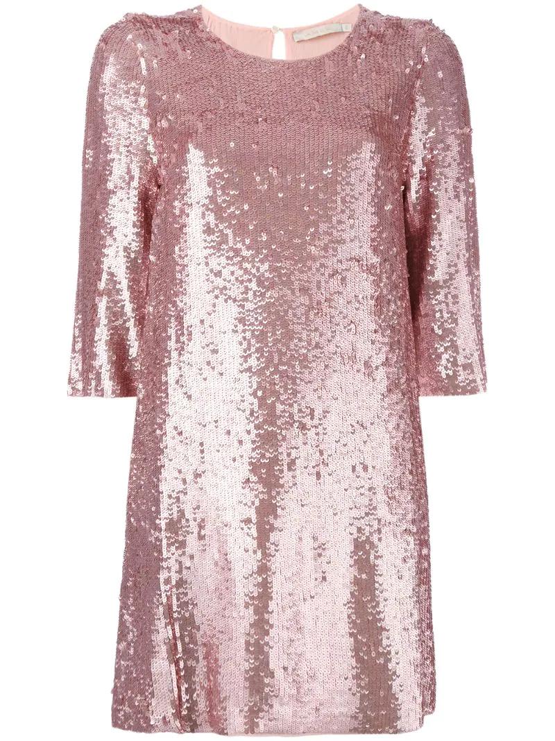 Amen | Розовый и фиолетовый платье шифт декорированное пайетками Amen | Clouty