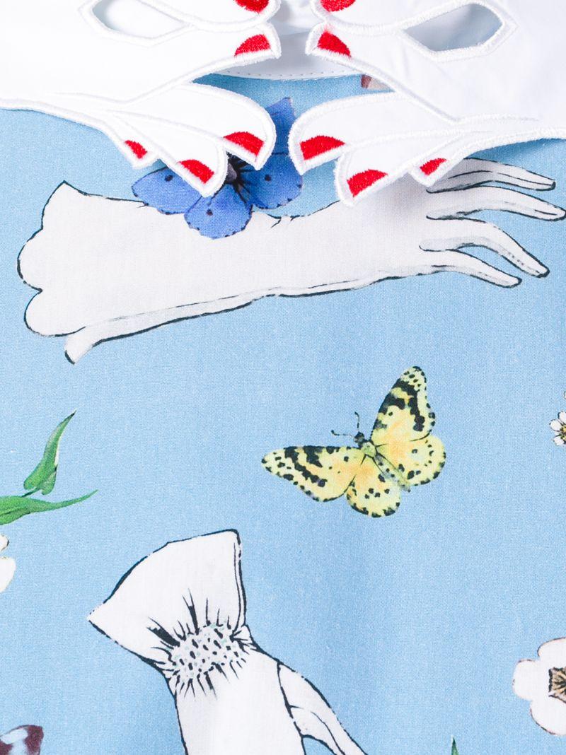 Vivetta   Синий платье с принтом 'Pesce Paglia' Vivetta   Clouty