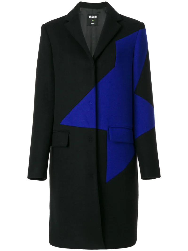 MSGM | Чёрный пальто с контрастной вставкой MSGM | Clouty