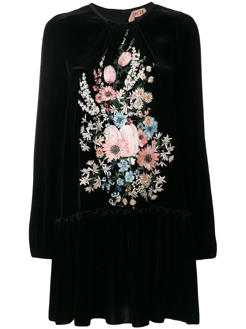 No. 21   Чёрный бархатное платье с цветочной вышивкой Nº21   Clouty