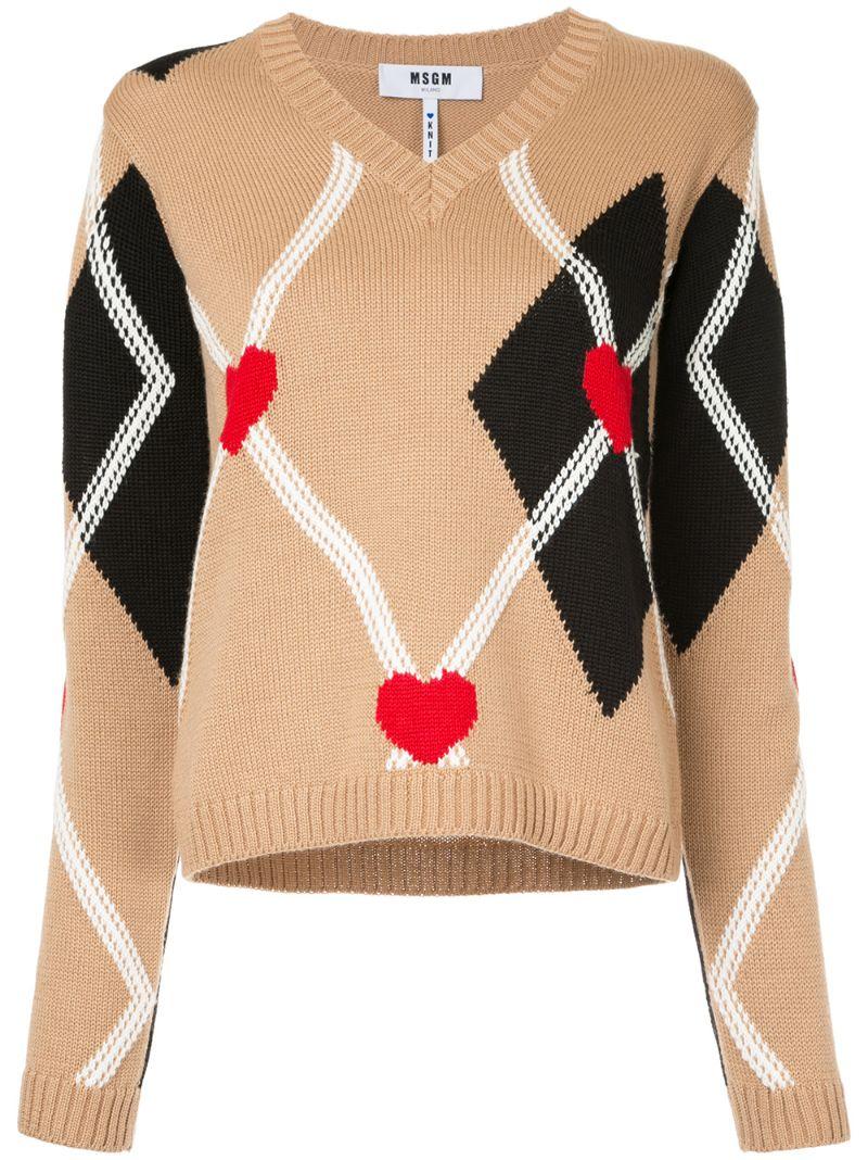 MSGM | Коричневый свитер с V-образным вырезом и узором в ромбы  MSGM | Clouty