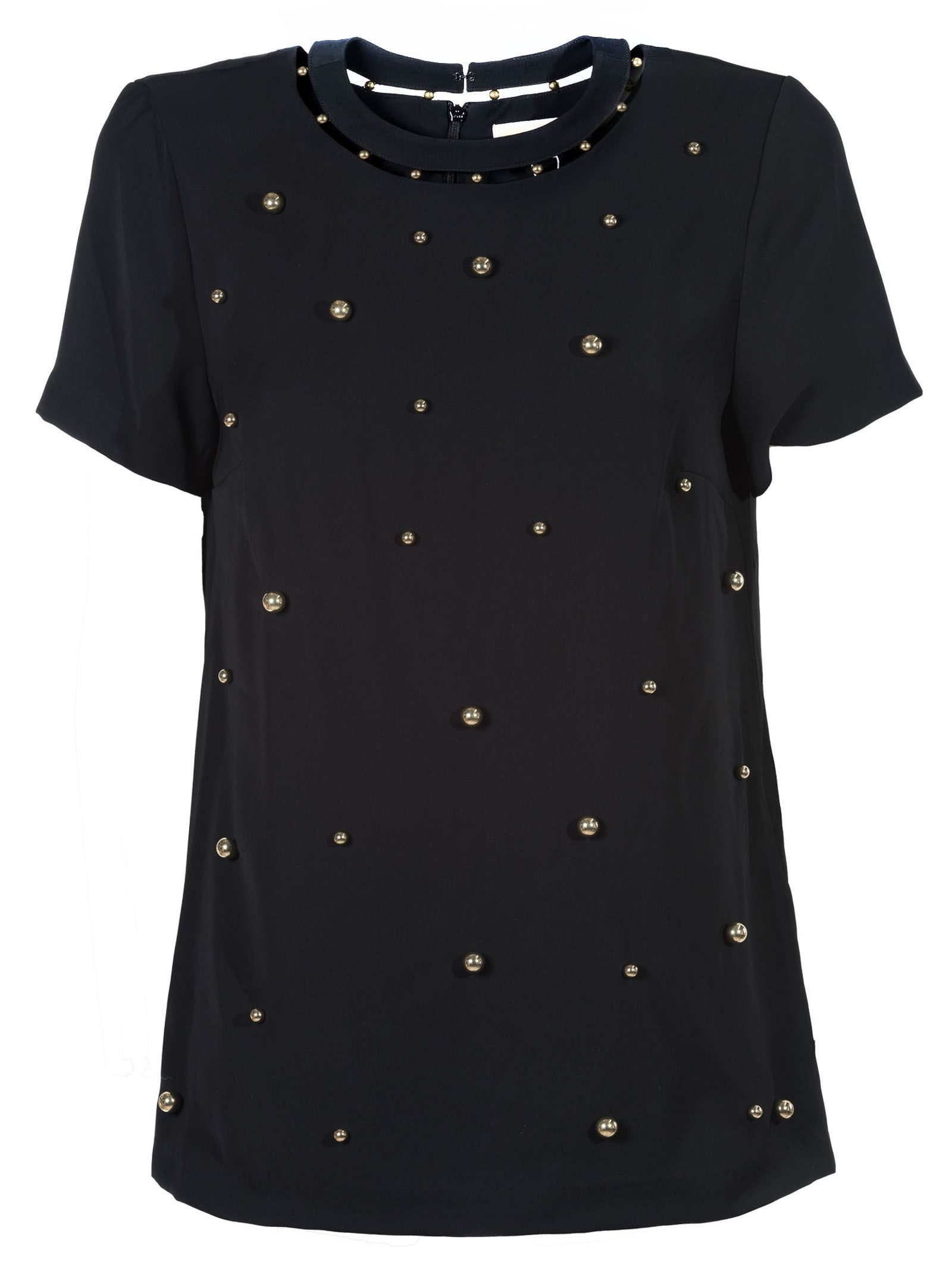 Michael Michael Kors | Michael Michael Kors Embellished Cut-out Blouse | Clouty