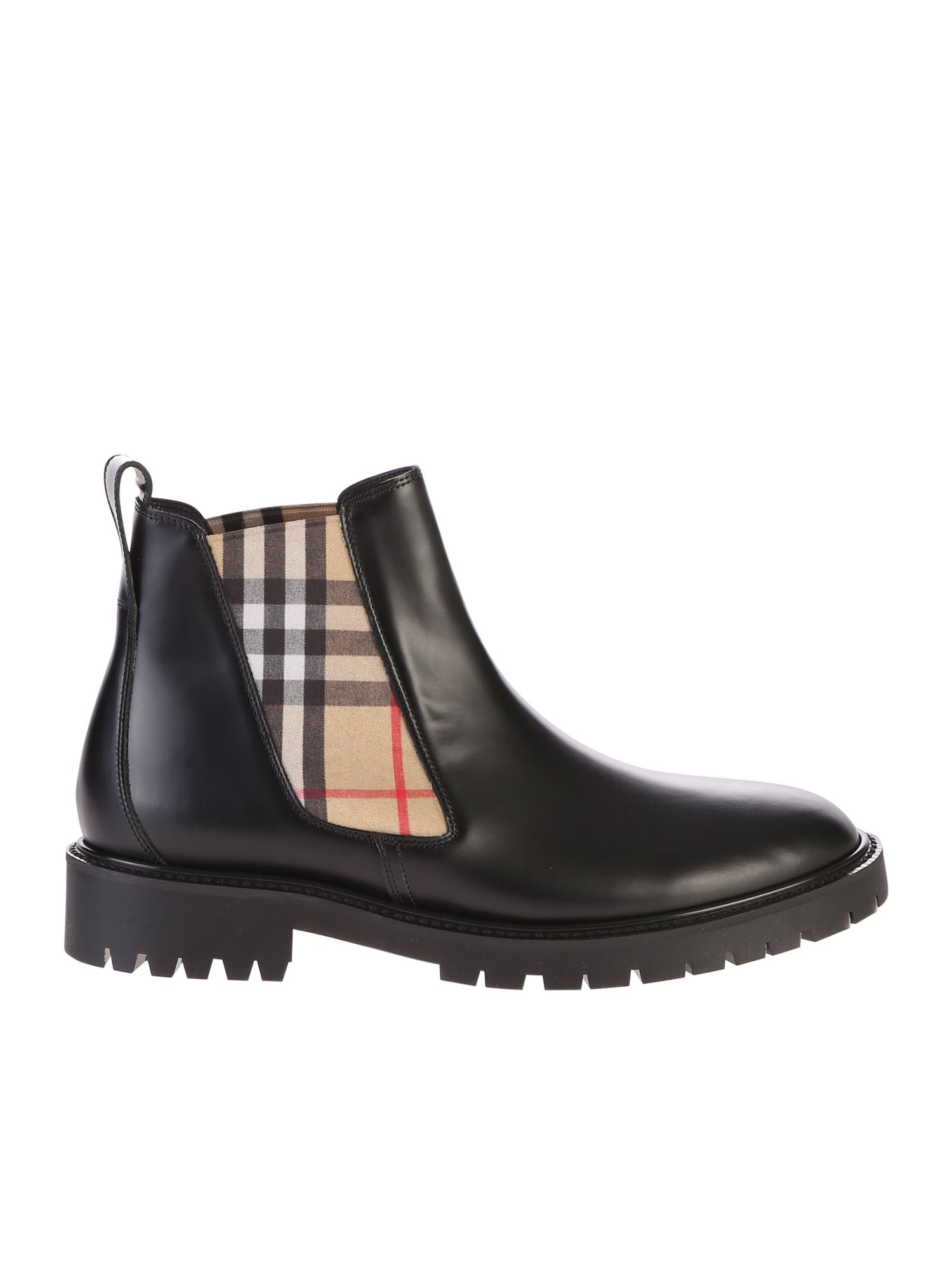 BURBERRY | Burberry Black Checked Ankle Boots | Clouty