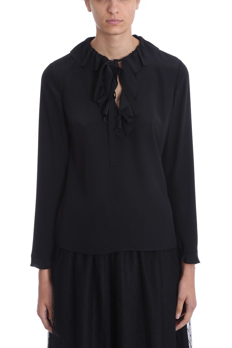 VALENTINO RED | RED Valentino Black Silk Rouches Blouse | Clouty