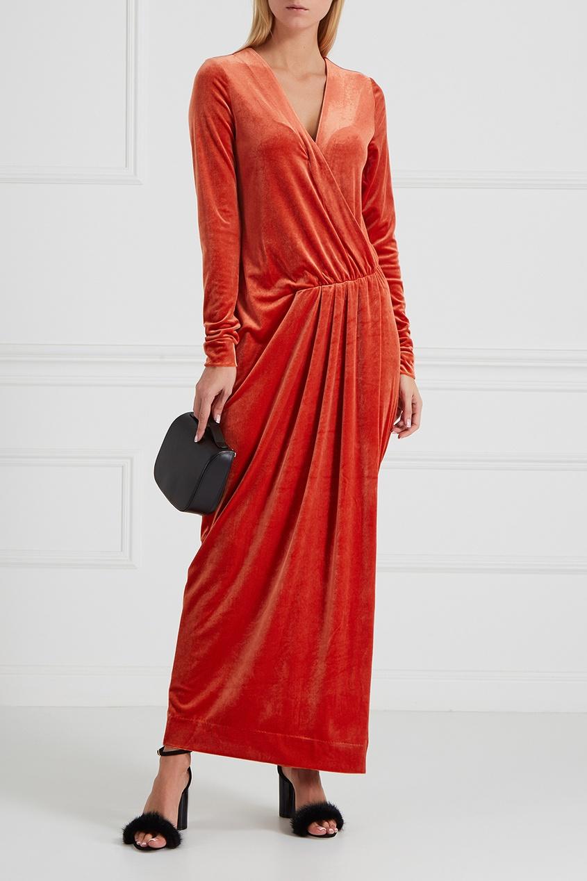 By Malene Birger | оранжевый Бархатное платье с запахом | Clouty