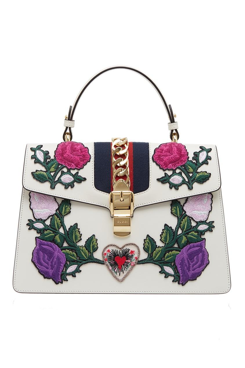 GUCCI | белый Кожаная сумка с цветами Sylvie | Clouty