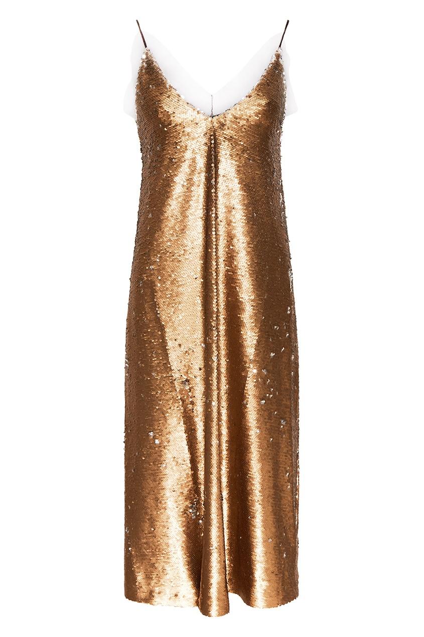 ЛИ-ЛУ | Золотой Золотистое платье с пайетками | Clouty