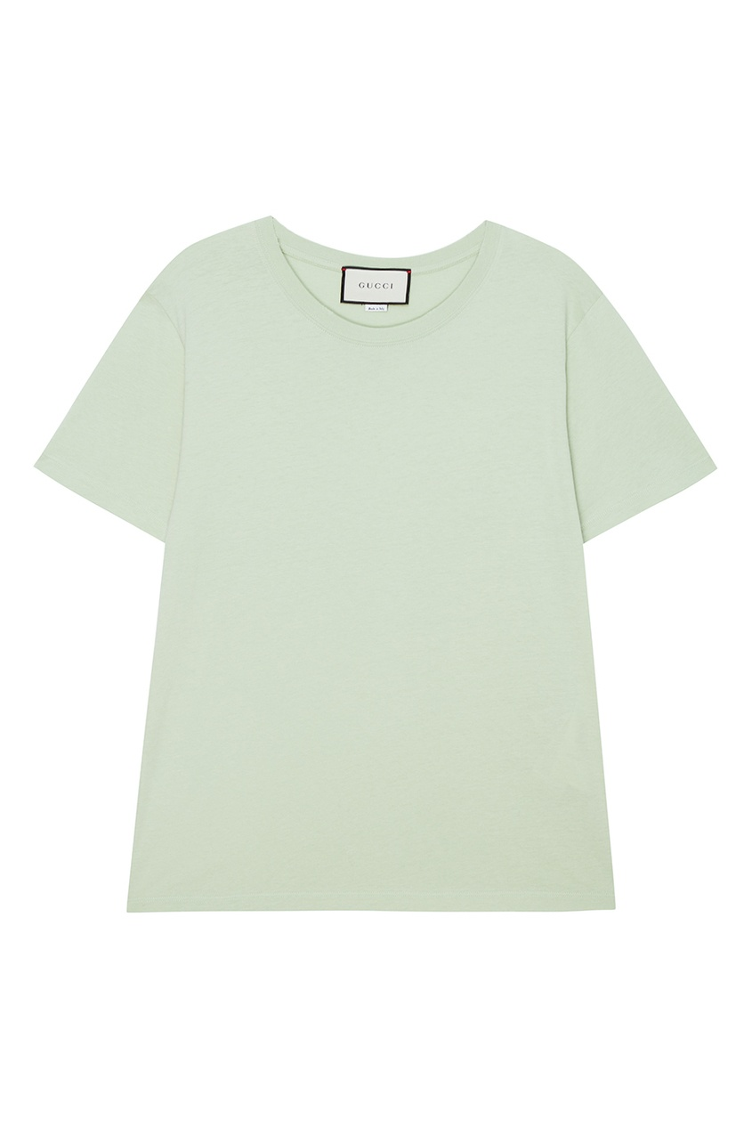 GUCCI | зеленый Светло-зеленая футболка из хлопка | Clouty