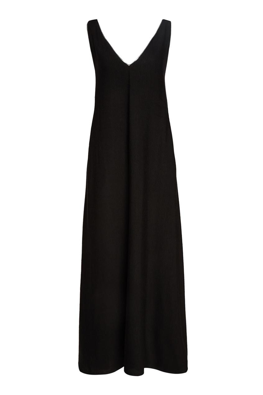 Tegin | черный Черное платье-макси с отделкой цепочками | Clouty