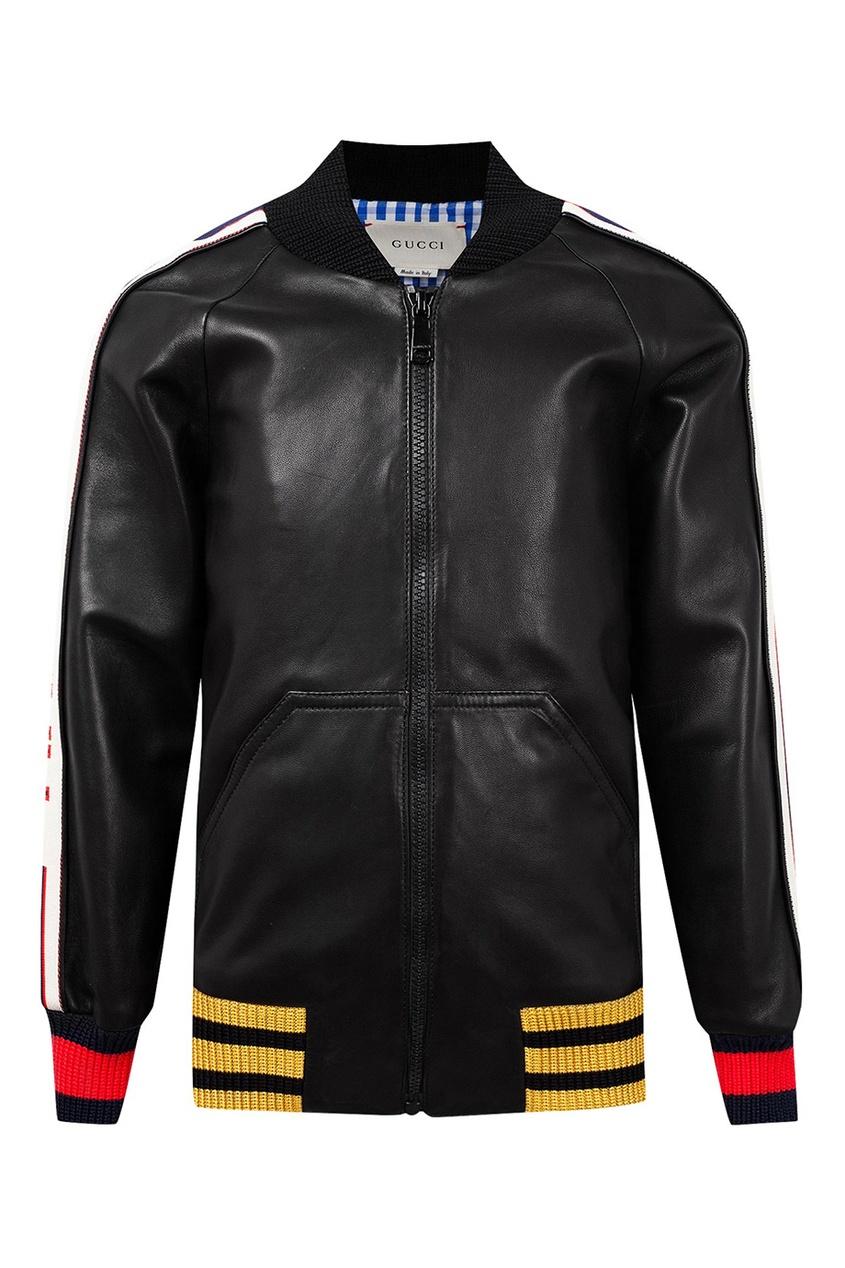 Gucci Kids   черный Кожаная куртка с контрастной отделкой   Clouty ... afdaafaff66