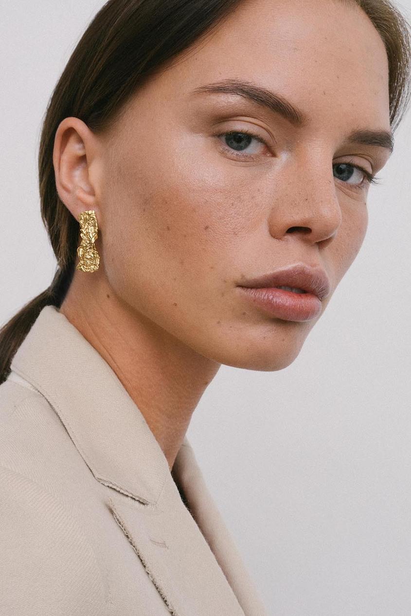 ringstone | Золотой Позолоченные текстурированные серьги | Clouty